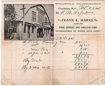 RARE Advertising Billhead Ford Jeffery & Oakland Cars Garage Canandaigua NY 1917