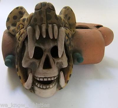 Aztec Jaguar Warrior Double Whistle  Day Of The Dead Mexican Pottery Folk Art