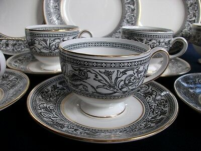 WEDGWOOD FLORENTINE BLACK W4312 (c.1962+) LEIGH CUP & SAUCER(s) -MINT!! GILT!!