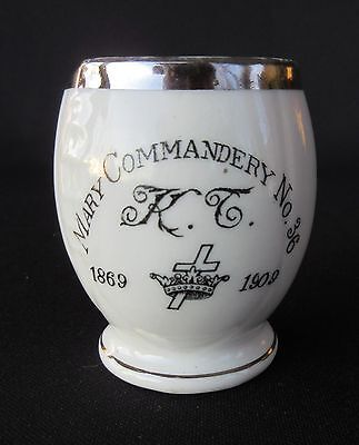 Knights Templar Mary Commandery No. 36 - Small Porcelain Jar Dated 1909