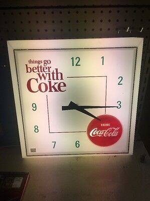 Vintage 1960s Coke Cola Lighted Wall Clock Rare Hard To Find Scarce Coca