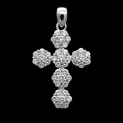 14K White Gold 0.50 Ct Created Diamond Cluster Pave Cross Pendant Crucifix Charm