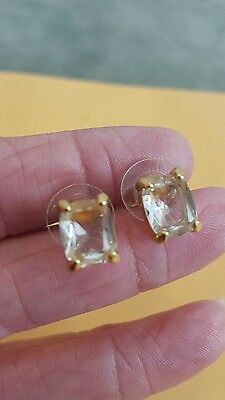 Vintage Mint Swarovski Emerald Cut Crystal Pierced Post Earrings