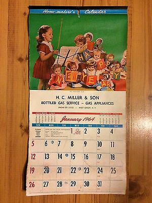 Vintage 1964 Calender Hc Miller Gas Service West Chazy New York Ny Advertising