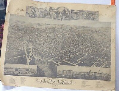 Birds Eye View Of Kalamazoo, Michigan, In 1883 - Large Old Reproduction Poster