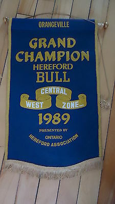 Vintage SHERBROOKE QUEBEC 1989 EXPO FAIR HEREFORD BULL GRAND CHAMPION Banner