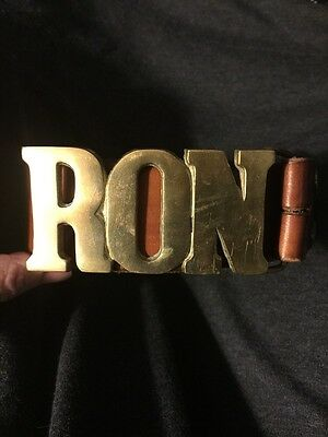 """Vintage 70s Solid Brass Name Belt Buckle With Leather Belt """"Ron"""" Size 32 Western"""