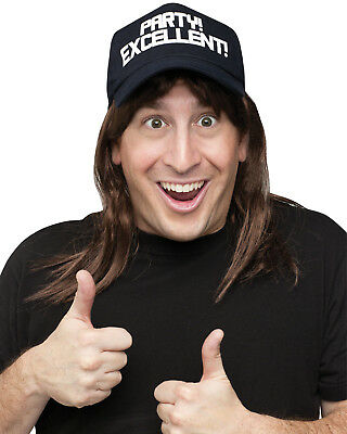 Excellent! Waynes World Wig & Hat Adults Accessory Halloween Fancy Dress Costume