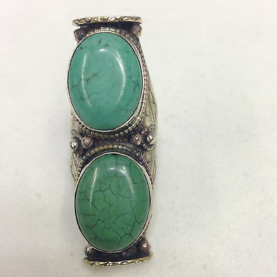 Tibetan Silver Repousse' Turquoise Ring Size 11 Adjustable