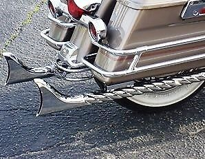 "Harley ""full Twisted"" Fishtail Exhaust Pipes - Suit The Road King  (Parts)"