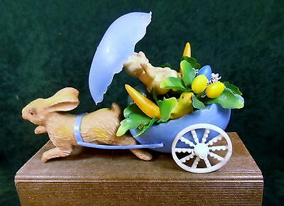 Vintage Blue Egg Rabbit Easter Bunny Cart with Wheels CUTE!