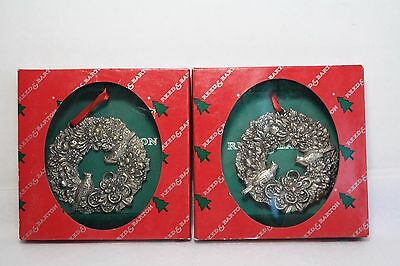 Vtg Lot of 2 Reed & Barton Cardinal Wreath Christmas Ornaments Silverplate 2388