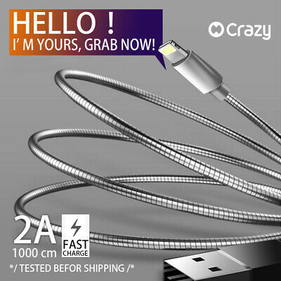 Crazy USB Cable data Charger cord for iPhone 8 7 6 X XS MAX XR iPad Metallic