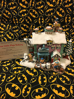 Danbury Mint - Rare Disney Winter Wonderland The Three Little Pigs Bakery W/coa