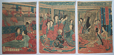 1879 Japanese Original Antique Old Woodblock Print Triptych Of Beauty and Mirror