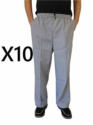 Chef Uniform Hospitality Pants Black And White Check With Draw String  X 10