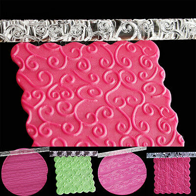 Non-stick Textured Embossing Acrylic Rolling Pin Fondant Cake Roller 14 Styles