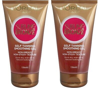 2 x LOREAL SUBLIME BRONZE SELF TANNING SMOOTHING GEL 150ML 100% Brand New
