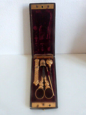 Antique-Victorian-Etui-Sewing-Kit-mahogany -Gilt-Sewing-Case