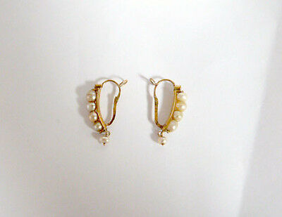 Solid 14K Gold and  pearls antique century 18th Spanish earrings