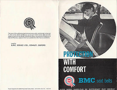 PROTECTION WITH COMFORT, B.M.C. SEAT BELTS BROCHURE DATED 9/63, REF No.AKD 2140