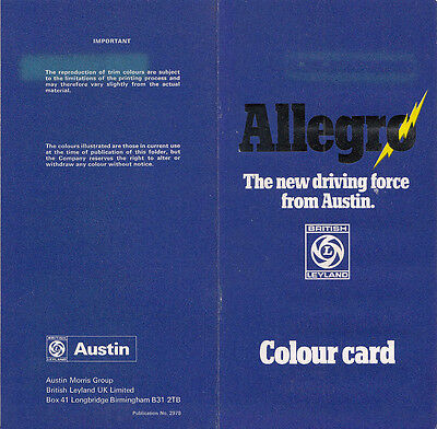 AUSTIN ALLEGRO THE NEW DRIVING FORCE FROM AUSTIN COLOUR CARD, PUB. No.2978.