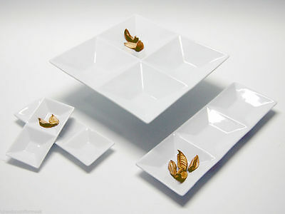 White Porcelain plate Snack Serving Dish compartments tray dinner plate LATTICE