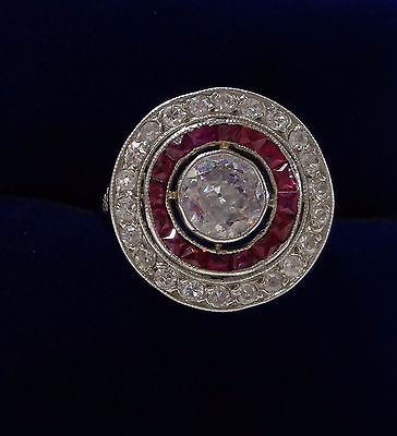 Antique French  Art Deco Ruby and 1.00ct Diamond Target Ring In Platinum