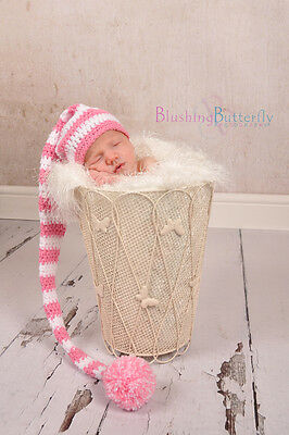 Pink White Newborn Crochet Knit Extra Long Baby Elf Hat Christmas Photo Prop