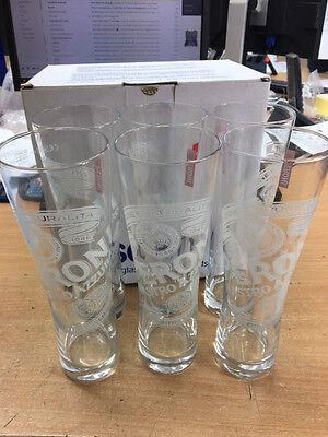 6 X Peroni Official Pint Glasses *new Boxed* Beer Lager