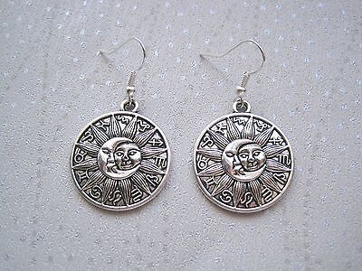 b6f789622 ZODIAC SUN and MOON LARGE ROUND DISC SP Drop Earrings CELESTIAL Astral  Horoscope