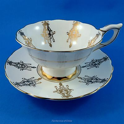 Unique White and Gold Design Royal Stafford Tea Cup and Saucer Set