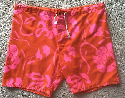 Vintage 1960's Hawaiian Swim Trunks Large Surfer Shorts Suit Cotton Clean!