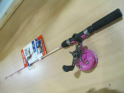 """Eagle Claw Cold Smoke PINK  28"""" light straight inline ice fishing combo  NEW"""