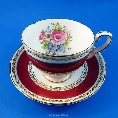 Deep Red Border with Floral Bouquet Royal Stafford Tea Cup and Saucer Set