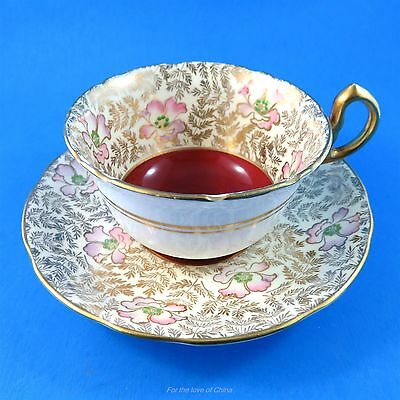Gold and Floral Chintz with Deep Red Center Royal Stafford Tea Cup & Saucer Set