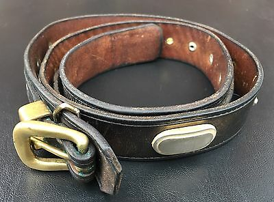 """Vintage Thick Heavy 80s US Leather Belt 28-32""""  with 5 Solid Thick Metal Conchos"""