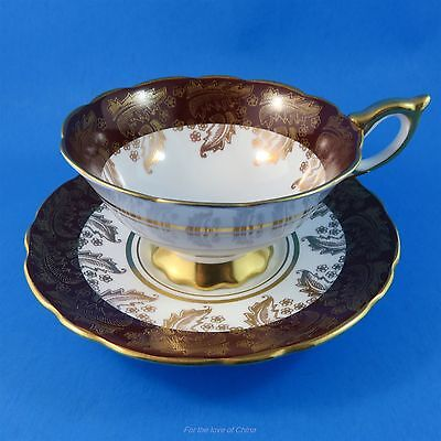 Deep Red and Gold Swirl Leaf Design Royal Stafford Tea Cup and Saucer Set
