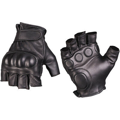 Mil-Tec Tactical Fingerless Leather Gloves Military Mens Security Mittens Black