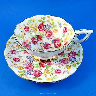 Beautiful Rose Chintz June Roses Royal Stafford Tea Cup and Saucer Set
