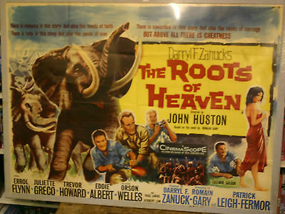 THE ROOTS OF HEAVEN Erroll Flynn Original UK  quad cinema poster 1958