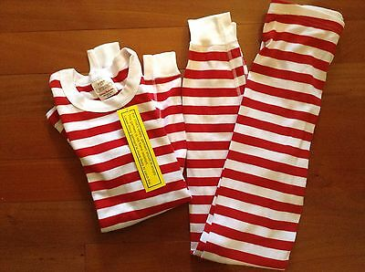 Hanna Andersson Long Johns Pajamas NEW Red White Striped 150 12 Holiday