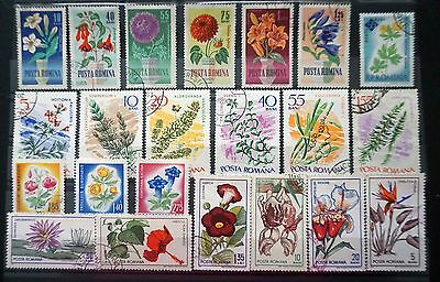 ROMANIA    GREAT LOT of  22 Romanian FLOWERS STAMPS  plants commemoratives  used