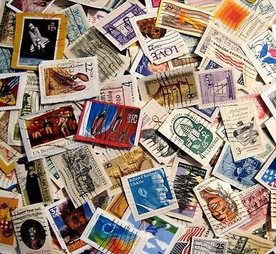 USA Lot of 40 Used Postage Stamps On-Paper No Doubles Large Size Issues Colors
