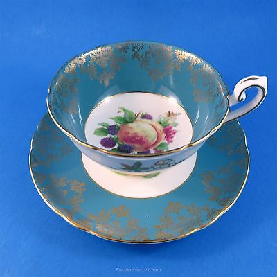 Fruit Center with Blue Border Shelley Tea Cup and Saucer Set
