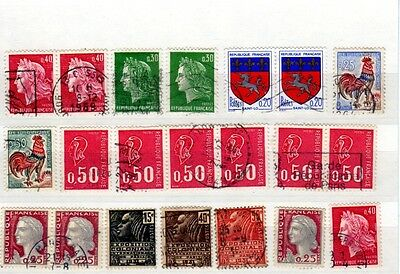 France - Stockcard of 20 Stamps - Used