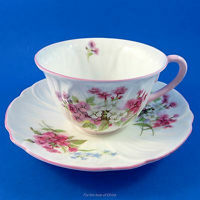 Oleadnder Shape Floral Bouquet Shelley Tea Cup and Saucer Set