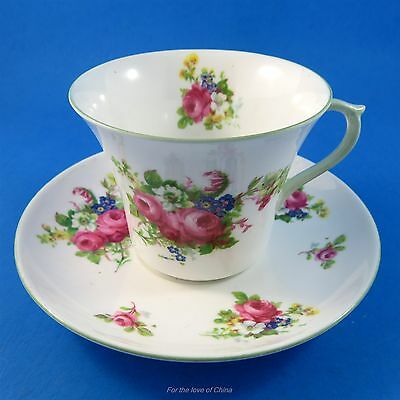 Pretty Floral Bouquet with Green Handle Shelley Tea Cup and Saucer Set