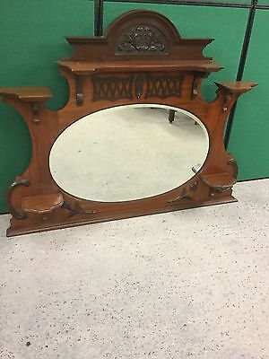 Antique Victorian Mahogany Overmantle With Oval Mirror