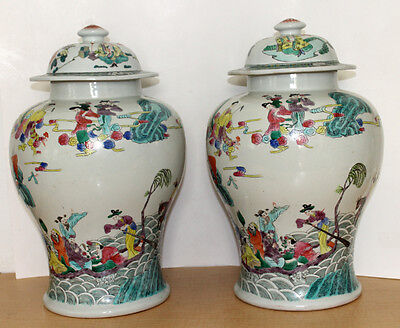 2 Antique Ginger Jars Chinese Handpainted Chinese Vase Colorful Extra Large Pair
